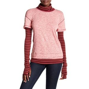 FREE PEOPLE Layered-Look Turtleneck red top